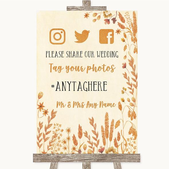 Autumn Leaves Social Media Hashtag Photos Personalised Wedding Sign