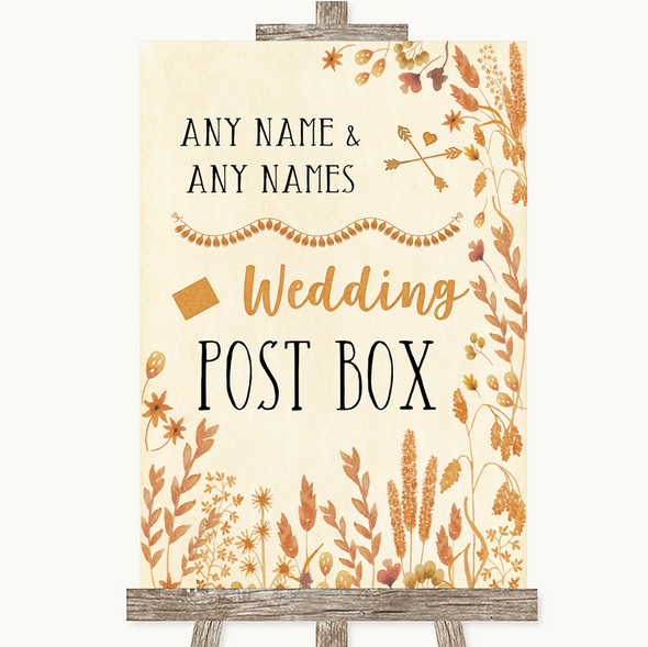 Autumn Leaves Card Post Box Personalised Wedding Sign