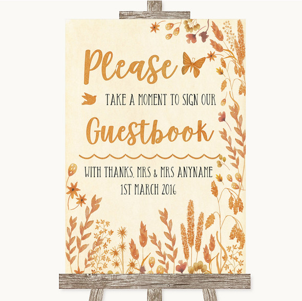 Autumn Leaves Take A Moment To Sign Our Guest Book Personalised Wedding Sign