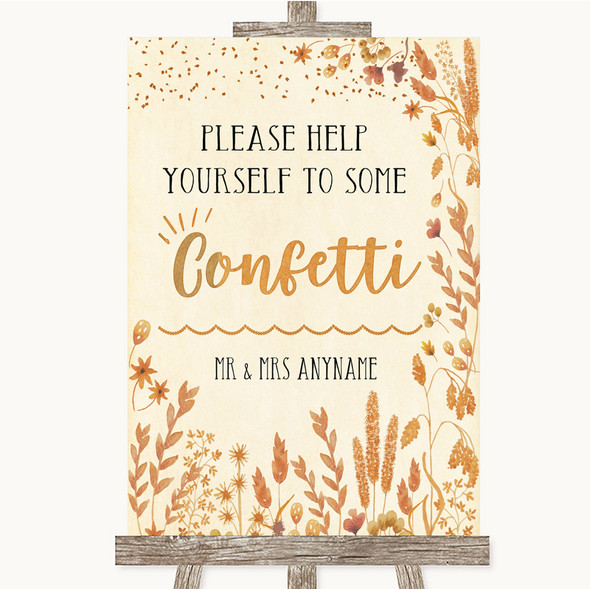 Autumn Leaves Take Some Confetti Personalised Wedding Sign