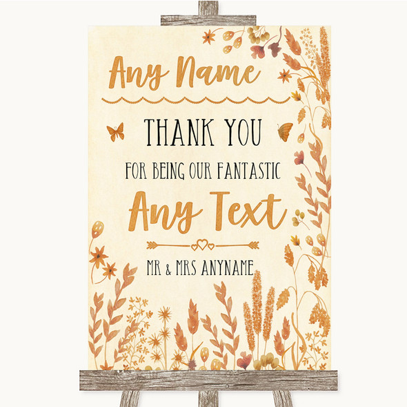 Autumn Leaves Thank You Bridesmaid Page Boy Best Man Personalised Wedding Sign