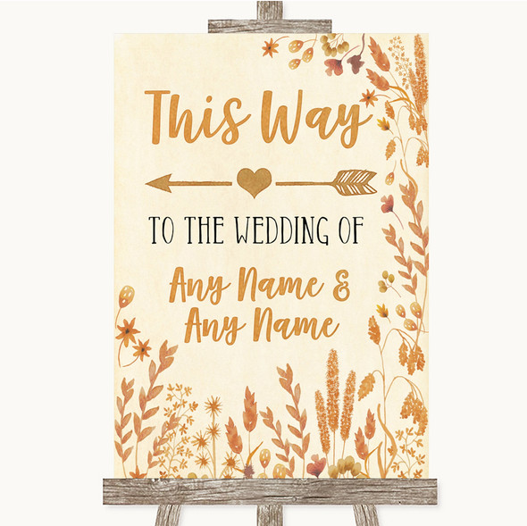 Autumn Leaves This Way Arrow Left Personalised Wedding Sign