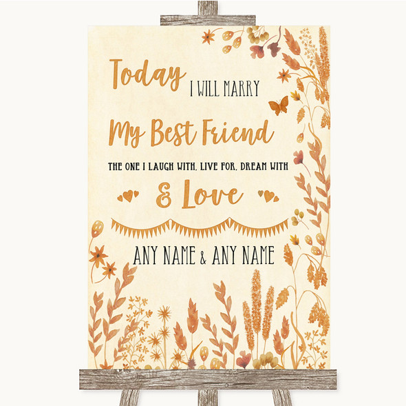 Autumn Leaves Today I Marry My Best Friend Personalised Wedding Sign