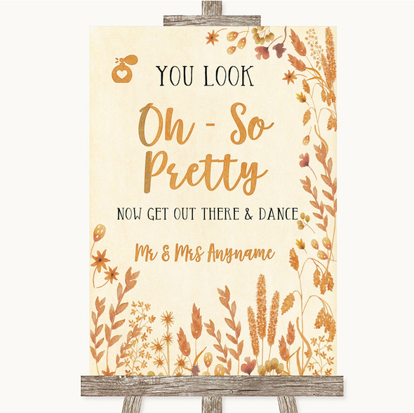 Autumn Leaves Toilet Get Out & Dance Personalised Wedding Sign