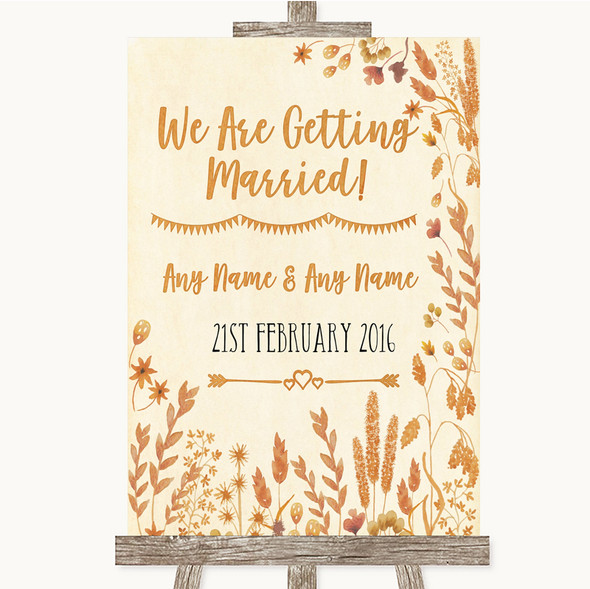 Autumn Leaves We Are Getting Married Personalised Wedding Sign
