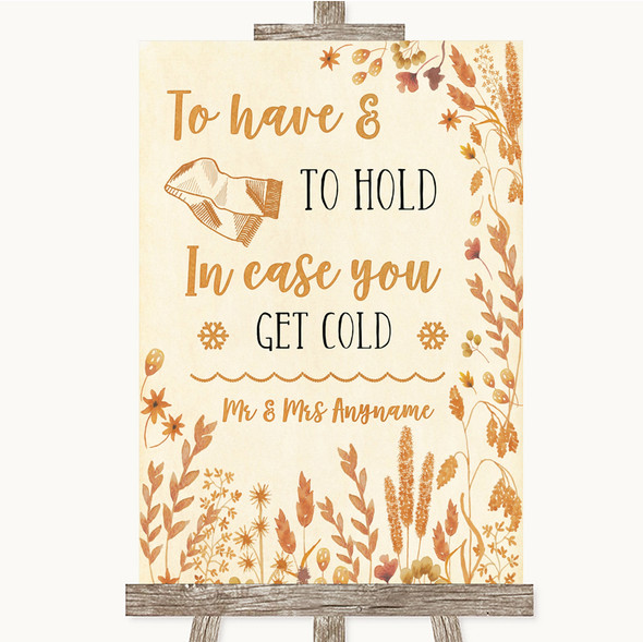 Autumn Leaves Wedding Blanket Scarf Personalised Wedding Sign