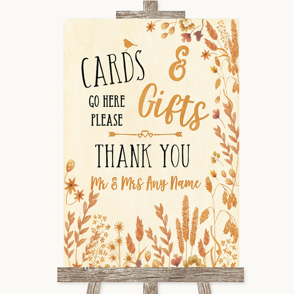 Autumn Leaves Cards & Gifts Table Personalised Wedding Sign