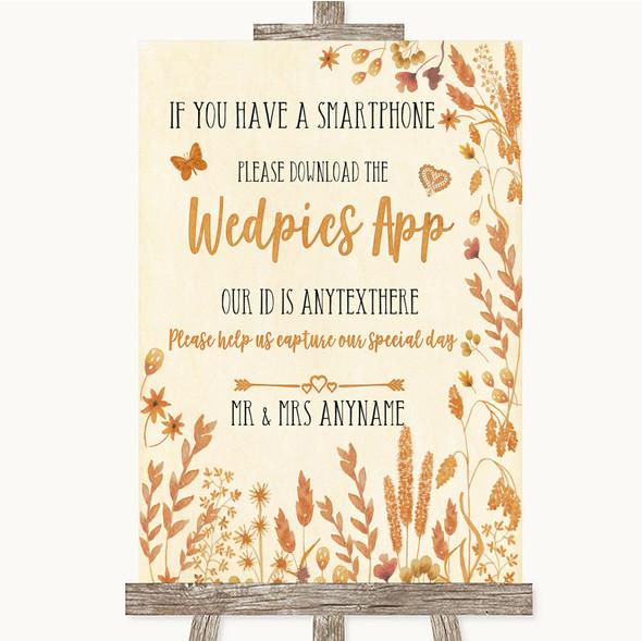 Autumn Leaves Wedpics App Photos Personalised Wedding Sign