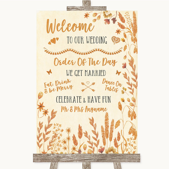 Autumn Leaves Welcome Order Of The Day Personalised Wedding Sign