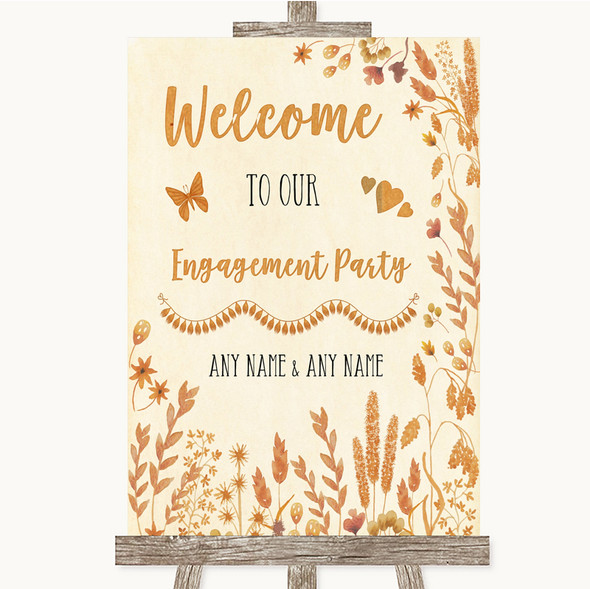 Autumn Leaves Welcome To Our Engagement Party Personalised Wedding Sign