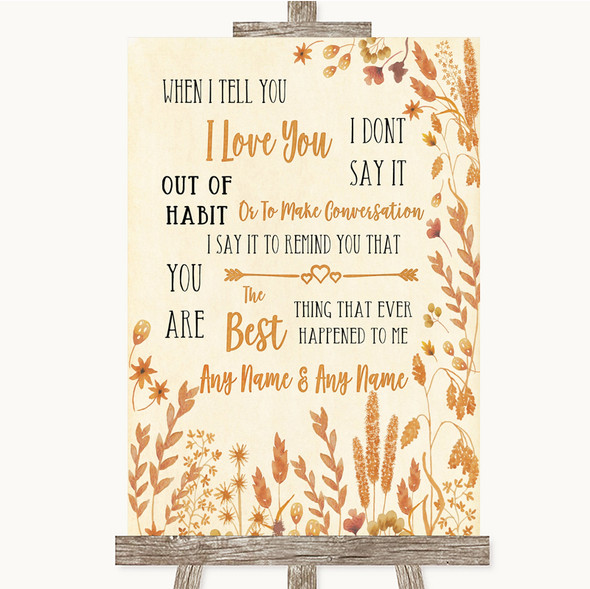 Autumn Leaves When I Tell You I Love You Personalised Wedding Sign