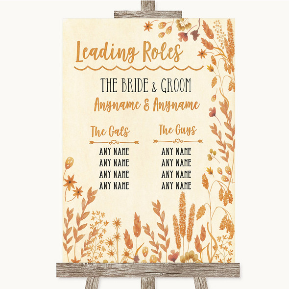 Autumn Leaves Who's Who Leading Roles Personalised Wedding Sign