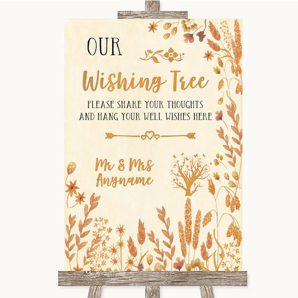Autumn Leaves Wishing Tree Personalised Wedding Sign