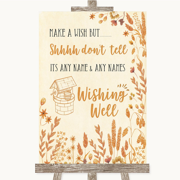 Autumn Leaves Wishing Well Message Personalised Wedding Sign