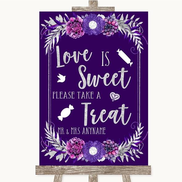 Purple & Silver Love Is Sweet Take A Treat Candy Buffet Wedding Sign