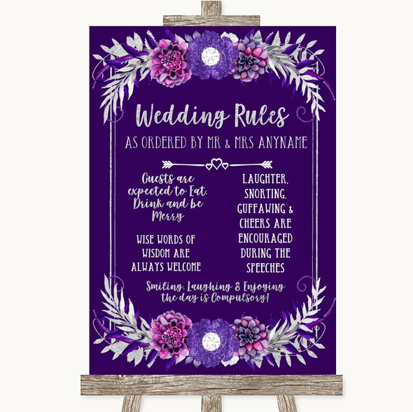 Purple & Silver Rules Of The Wedding Personalised Wedding Sign
