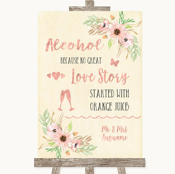 Blush Peach Floral Alcohol Bar Love Story Personalised Wedding Sign
