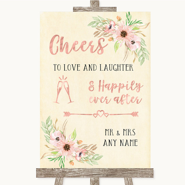 Blush Peach Floral Cheers To Love Personalised Wedding Sign