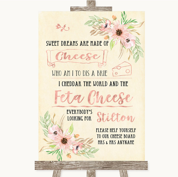 Blush Peach Floral Cheeseboard Cheese Song Personalised Wedding Sign