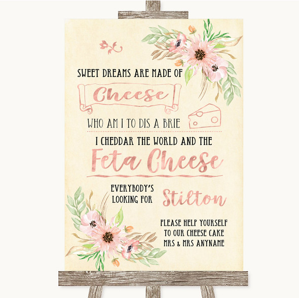 Blush Peach Floral Cheesecake Cheese Song Personalised Wedding Sign