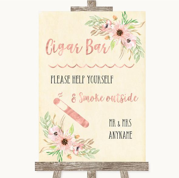 Blush Peach Floral Cigar Bar Personalised Wedding Sign