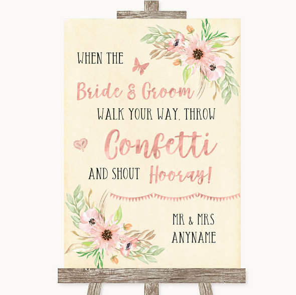 Blush Peach Floral Confetti Personalised Wedding Sign