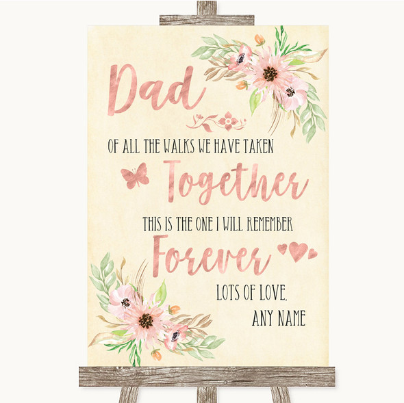 Blush Peach Floral Dad Walk Down The Aisle Personalised Wedding Sign