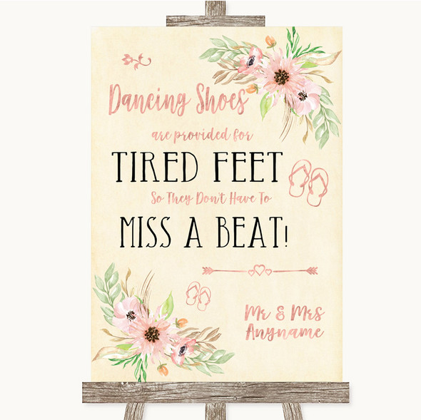 Blush Peach Floral Dancing Shoes Flip-Flop Tired Feet Personalised Wedding Sign