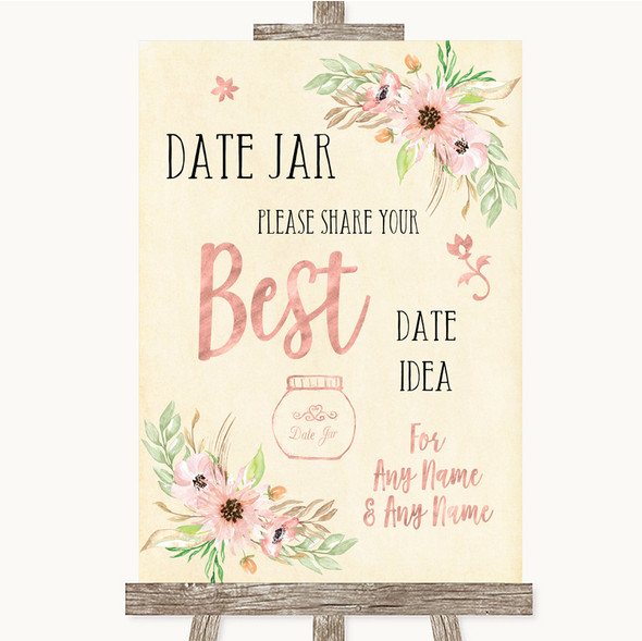 Blush Peach Floral Date Jar Guestbook Personalised Wedding Sign
