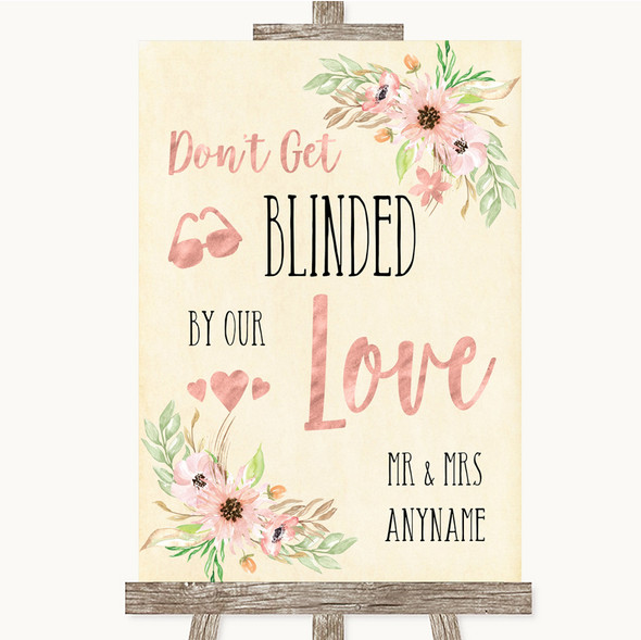 Blush Peach Floral Don't Be Blinded Sunglasses Personalised Wedding Sign