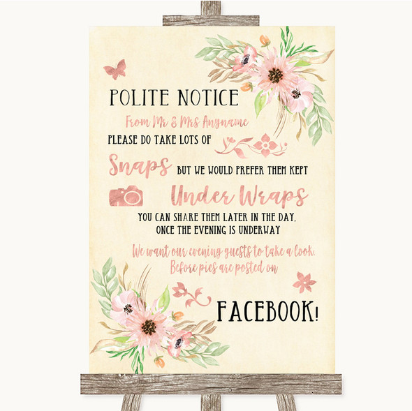 Blush Peach Floral Don't Post Photos Facebook Personalised Wedding Sign