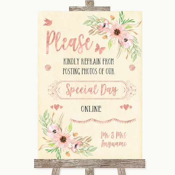 Blush Peach Floral Don't Post Photos Online Social Media Wedding Sign