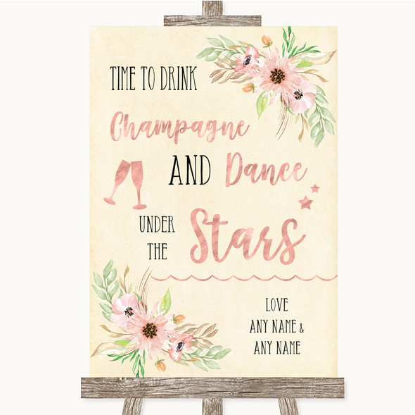 Blush Peach Floral Drink Champagne Dance Stars Personalised Wedding Sign