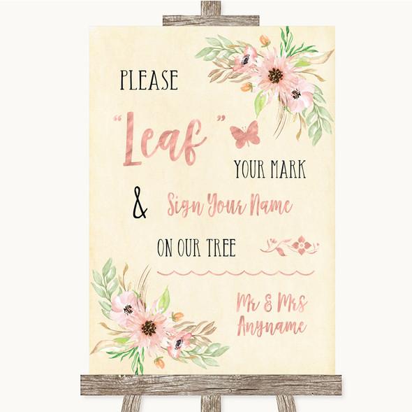 Blush Peach Floral Fingerprint Tree Instructions Personalised Wedding Sign