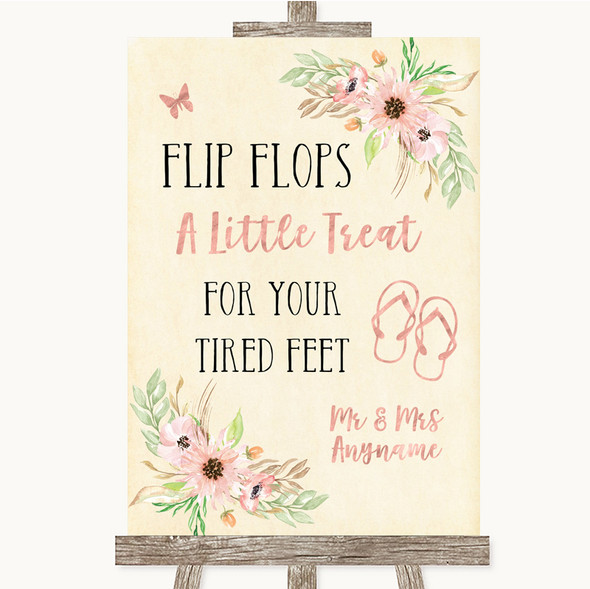 Blush Peach Floral Flip Flops Dancing Shoes Personalised Wedding Sign