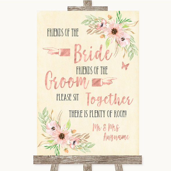 Blush Peach Floral Friends Of The Bride Groom Seating Personalised Wedding Sign