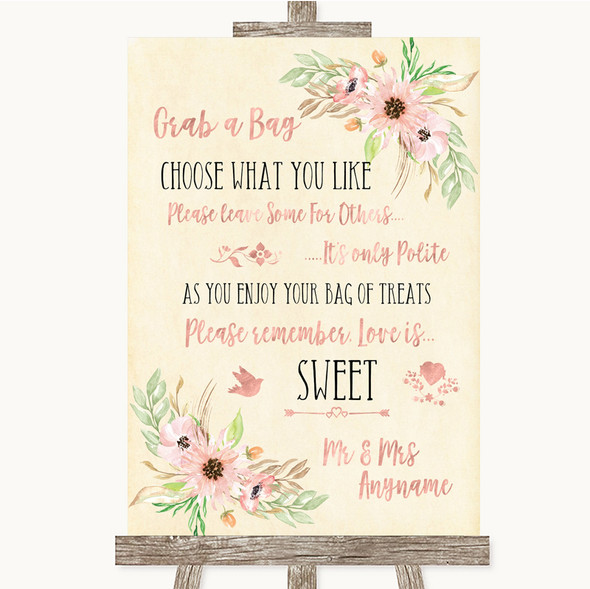 Blush Peach Floral Grab A Bag Candy Buffet Cart Sweets Personalised Wedding Sign