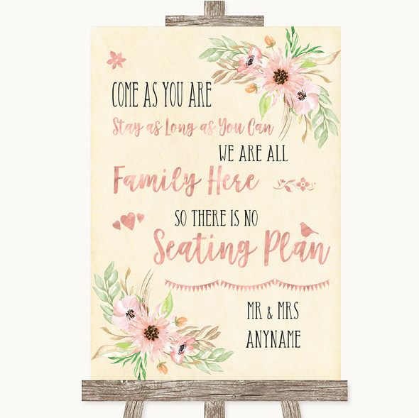 Blush Peach Floral All Family No Seating Plan Personalised Wedding Sign
