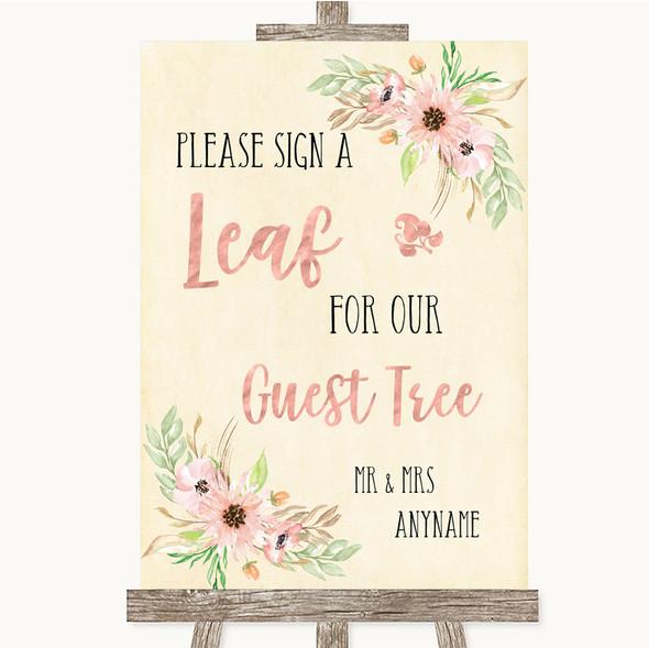 Blush Peach Floral Guest Tree Leaf Personalised Wedding Sign