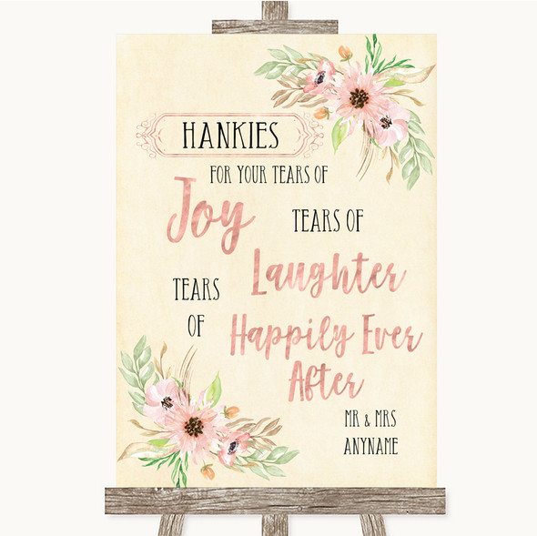 Blush Peach Floral Hankies And Tissues Personalised Wedding Sign