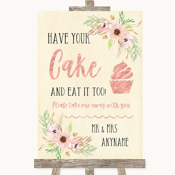 Blush Peach Floral Have Your Cake & Eat It Too Personalised Wedding Sign