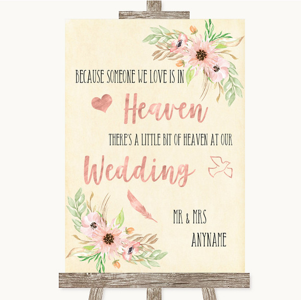 Blush Peach Floral Heaven Loved Ones Personalised Wedding Sign