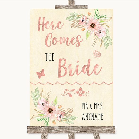 Blush Peach Floral Here Comes Bride Aisle Personalised Wedding Sign