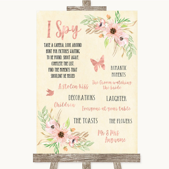 Blush Peach Floral I Spy Disposable Camera Personalised Wedding Sign