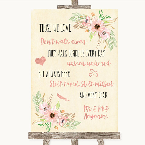 Blush Peach Floral In Loving Memory Personalised Wedding Sign