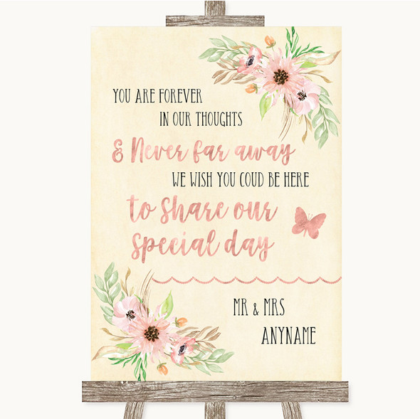 Blush Peach Floral In Our Thoughts Personalised Wedding Sign