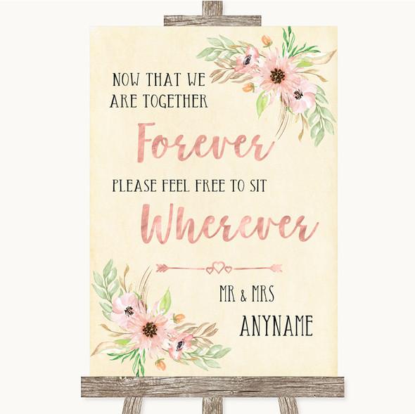 Blush Peach Floral Informal No Seating Plan Personalised Wedding Sign