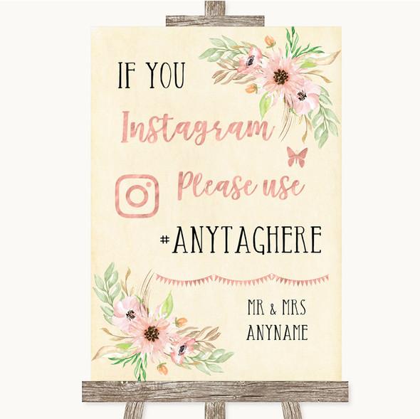Blush Peach Floral Instagram Hashtag Personalised Wedding Sign