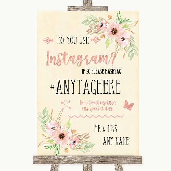 Blush Peach Floral Instagram Photo Sharing Personalised Wedding Sign