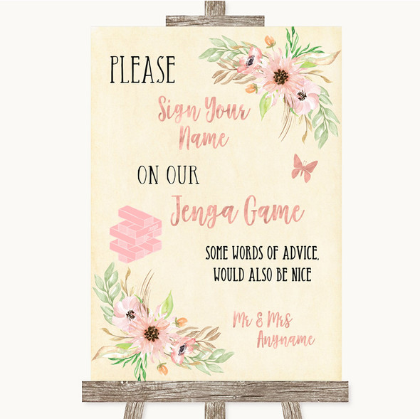 Blush Peach Floral Jenga Guest Book Personalised Wedding Sign